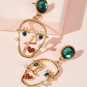 Gemstone Face Earrings